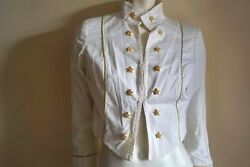 Roccobarocco Cropped Military White Cotton Jacket Gold Star Buttons It 42 Us 6