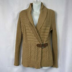 Ralph Lauren LRL Camel Cable Knit Shawl Collar Belted Cardigan Womens S