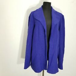 Chicos Womens Cardigan Jacket Size 3 Blue Coiled ? Felted Open Front Basic XL