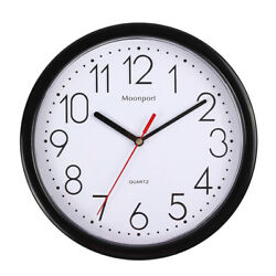 10 Inch Wall ClockSilent Non Ticking Quartz Battery Operated Round Easy to Read