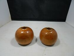 Pair of Duncan#x27;s Myrtlewood Crofters Round Wooden Candlestick Holders; 3quot; Tall