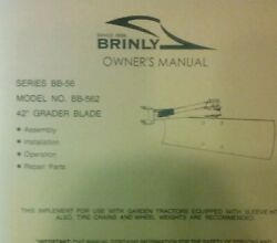 Brinly Sleeve Hitch 42 Rear Grader Blade Bb-562 Implement Owner And Parts Manual