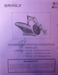 Brinly Sleeve Hitch Moldboard Plow Implement Pp-508 510 512 Owner And Parts Manual