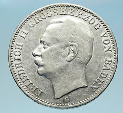 1909 Baden German State Silver W Frederick Ii Eagle W Crown Vintage Coin I82981