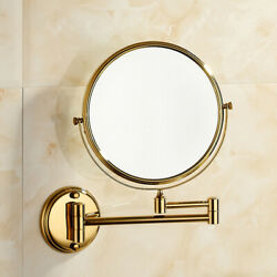 3X Magnifying Lighted Hotel Bathroom Fold Beauty Makeup Gold Mirrors Wall Mount