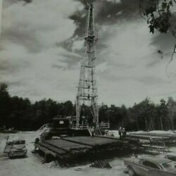 Real Photo Vtg Oil And Gas Company Well Driller Drill Bits Site Field Car Men Work