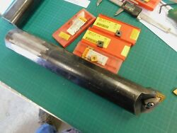 Sandvik 2-1/2 X 15 Boring Bar A40w Dclnr 5 With 4 New Cnmg 54 Inserts