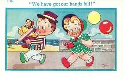 Comic Richter Trow 2 Doll-like Figures Buying Lots Of Junk At Beach Postcard