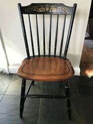 L. Hitchcock Set Of 6 Windsor Fan Back Black Baltic Maple Side Chairs