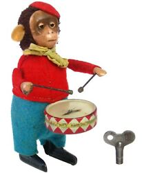 Vintage Schuco Germany Wind-up Toy Monkey Drummer Snare Drum W/key Works