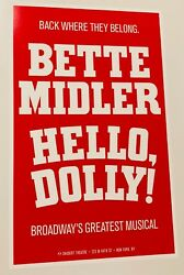 Hello Dolly - Bette Midler - Broadway Window Card Poster