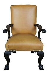 Antique 19th C. English Chippendale Arm Chair Carved Mahogany Leather Ball Claw