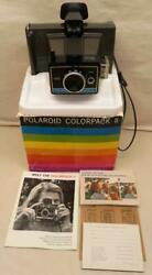 Vintage Beautiful Polaroid Colorpack Ii Instant Camera In Box W/manual-looks New
