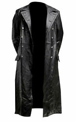 Menand039s Classic Officer Military Black Leather Long German Trench Coat