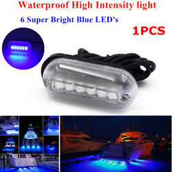 1pc Waterproof Underwater Blue 6 Led Oblong Courtesy Light Stair Deck Yacht Lamp