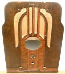 Vintage Philco 37-610 Tombstone Radio Wood Shell And Grill Cloth 18 And1/2x 14 X 9