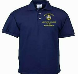Uss Floyd B. Parks Dd-884 Navy Anchor Embroidered Light Weight Polo Shirt