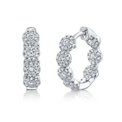 14k White Gold Inside Out Diamond Hoop Earrings Round Cut Cluster 0.55 0.74ct