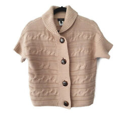 Talbots Brown Camel Tan Button Down Sweater Cable Knit Womens Small Petite