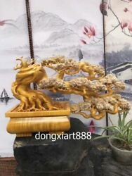 60 Cm Chinese Gold-rimmed Nanmu Handwork Wood The Pine Greeting Guests Sculpture