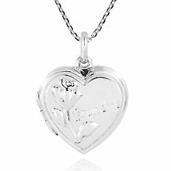 Sweet Rose And039grandmaand039 Inscribed Heart Shaped Sterling Silver Locket Necklace