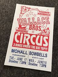 Wallace Bros Aerial Dancers 3 Ring Circus Poster Antique Carnival Sign 17x11