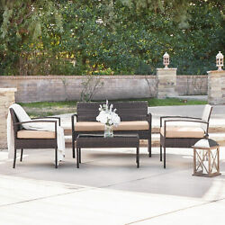 4pc Outdoor Wicker Patio Set Sectional Cushioned Furniture Rattan Garden Brown