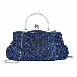 High Quality Vintage Beaded Sequin Design Clutch Purse Evening Bag Navy Blue $46.33