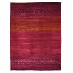 9'x11'9 Red Pure Wool Lori Buft Gabbeh Hand Knotted Oriental Rug R48947