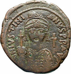 Justinian I The Great Authentic Ancient Medieval Byzantine Follis Coin I83027