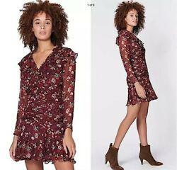Veronica Beard Magg Silk Ruched Dress In Bordeaux Multi - Size 4 And 6 Nwt 550