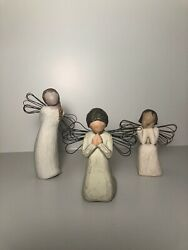 Willow Tree Figurines Bundle. Angel Of Prayer, Thank You, And Angel Of Caring