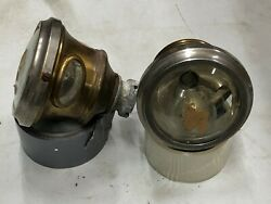 Pair Vintage Teens 1920s Cadillac Cowl Fender Brass Lights Gray And Davis Small 4