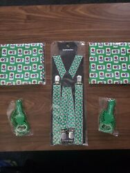 Miller Lite Suspenders Green St. Patrickand039s Day Yuengling Bottle Opener Beads Cup