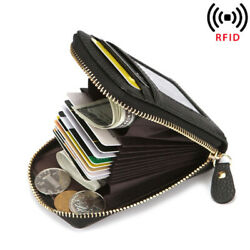 Real Leather Slim Wallet For Men with Money Clip Carbon Fiber RFID Blocking Case $12.99
