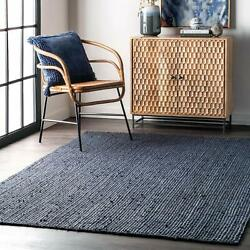Nuloom Rigo Hand Woven Jute Accent Rug 2and039 X 3and039 Navy
