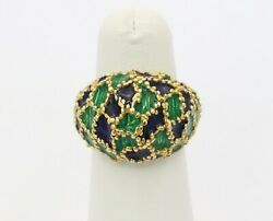 Vintage 18k Gold Blue And Green Enamel Dome Ring