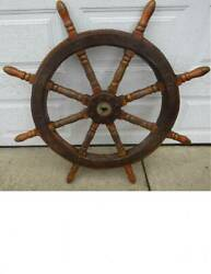 Antique Nautical Ship Yacht Wheel -- 46 And 50 Weight
