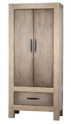 87 T Cabinet Solid Wood Double Doors Single Base Drawer Modern Washed Grey