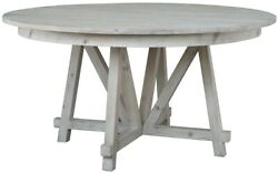 59 W Domenica Dining Table Recycled Pine Solid Wood Modern Grey White Finish