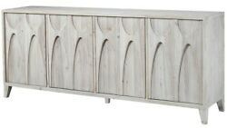 79 L Alea Sideboard Recycled Pine Solid Wood Modern Grey White Carved Doors