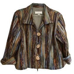 Caroline Rose Large Fabulous Woven Thick Weave Funky Art-to-wear Jacket Lined
