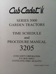 Cub Cadet Ccc 3205 Lawn Garden Tractor Time Schedule And Service Procedure Manual