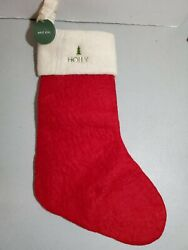 Pottery Barn West Elm Felted Wool Christmas Stocking Red Mono Holly New Jj