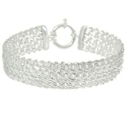 Diamond Cut Mesh Woven Link Bracelet Real Solid 925 Sterling Silver Qvc