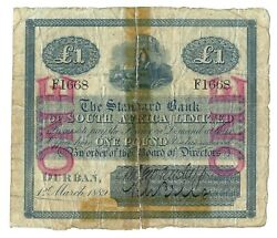 South Africa 1 Pound 1889 Durban Standard Bank P-s407a Very Rare And Handsigned