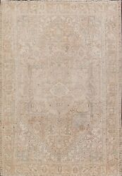 Antique Muted Geometric Heriz Area Rug Distressed Hand-knotted Living Room 8x12