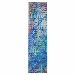 3and039x12and0394 The Peacock Sari Silk Colorful Hand Knotted Runner Oriental Rug R49087