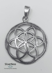 Silverness Jewellery Flower Of Life Pendant 925 Sterling Silver