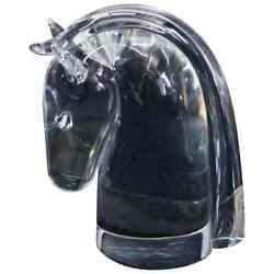 Steuben Figurative Crystal Sculpture Horse Head Paperweight By Dowler Signed